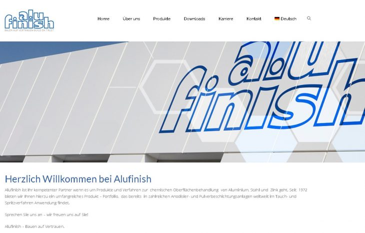 Alufinish Internet-Präsenz in neuem Design